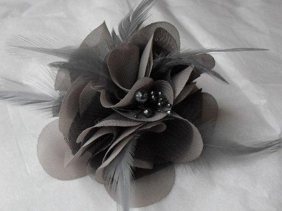 Shades of Grey, Hair Flower, Silk Chiffon, Grey netting, Feather Flower Fascinator, Style A080 #fascinatorstyles