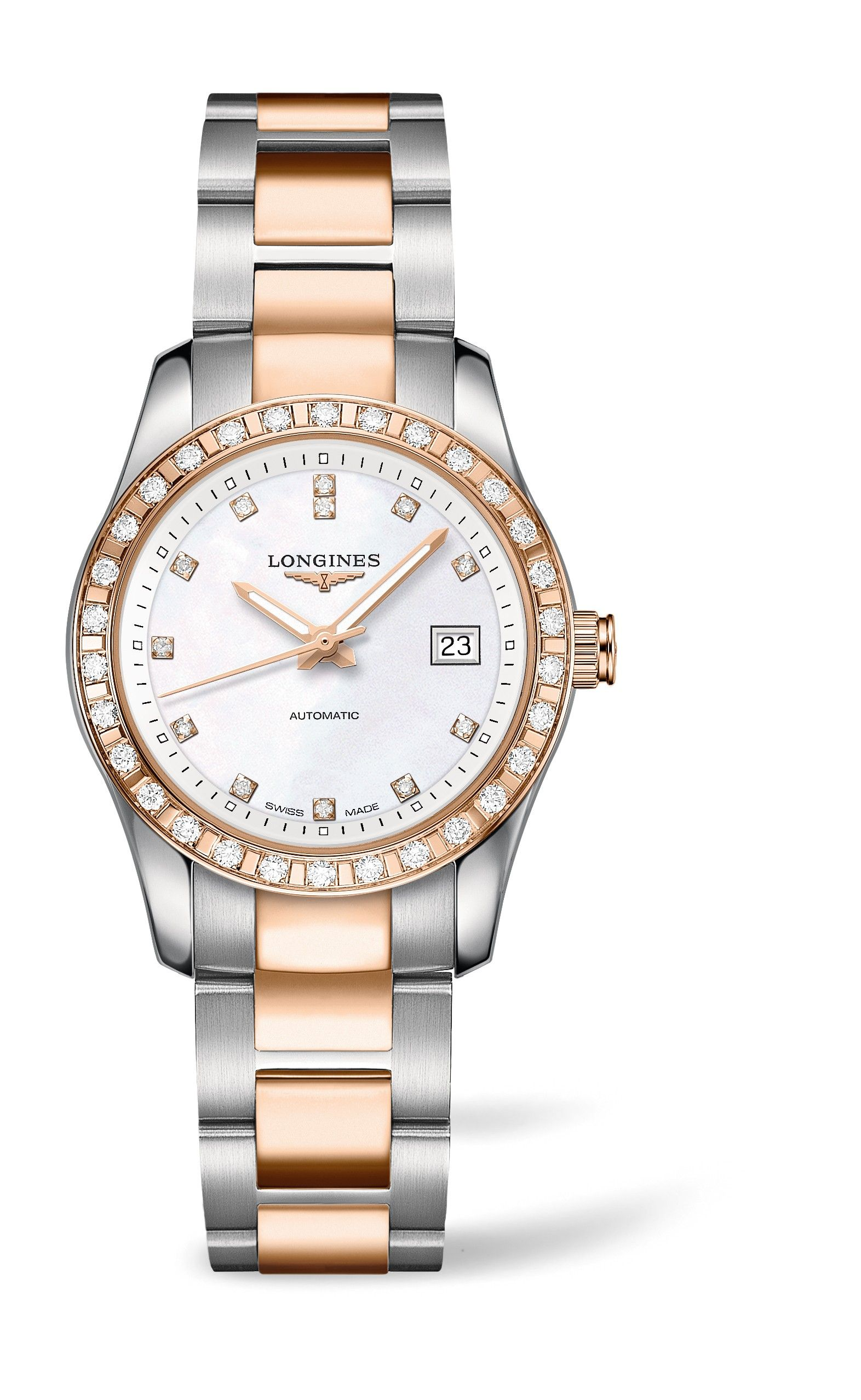6f55c33a4 The Longines Conquest Classic ladies' two-tone diamond-set watch has a  stunning 18ct rose gold bezel adorned with 30 diamonds, set onto a  stainless steel ...