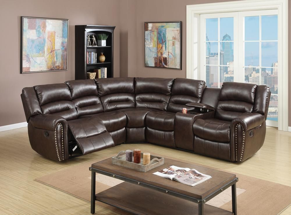 Bonded Leather 3 Pc Sectional Sofa Motional Theater Recliners