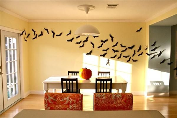 Bats Swarm Wall Decor Ideas For Cut Out Black Construction Paper In The Shape Of A Bat About 50 Times And Use Double Stick Tape