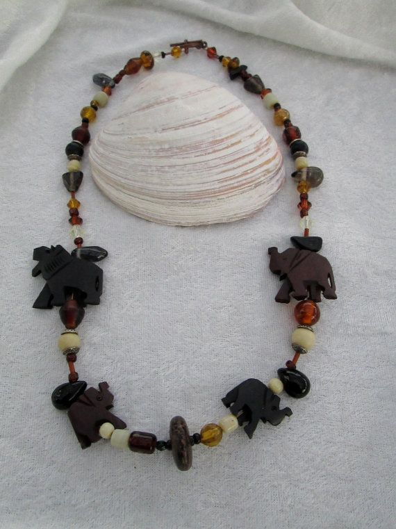 African Safari Diva Necklace  Wood Elephants  by TheJewelryDiva, $22.00