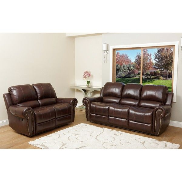 Abbyson Living Broadway Premium Top grain Leather Reclining Sofa
