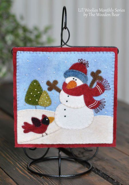 Li\u0027l Woolies January Snowman, by The Wooden Bear Small hanging on a