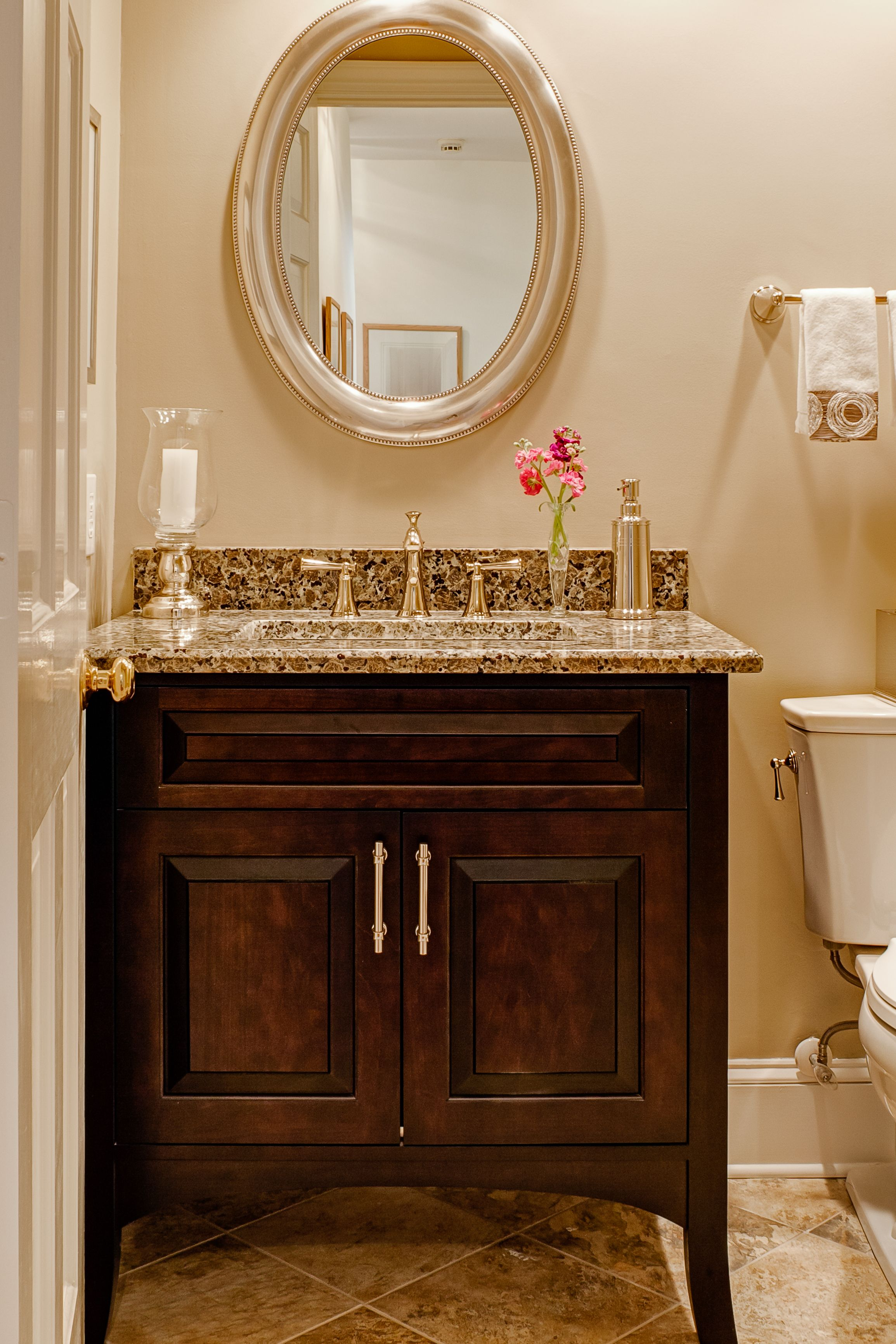 Wonderful 2 Door Powder Room Vanity With Single Sink And Sweet Gray Mosaic Marble Top Also Round Wall Mo Small Bathroom Vanities Powder Room Vanity Powder Room