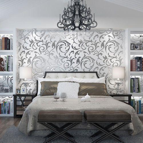 Damask Style Bedroom: Floral Textured Damask Design Glitter Wallpaper For Living