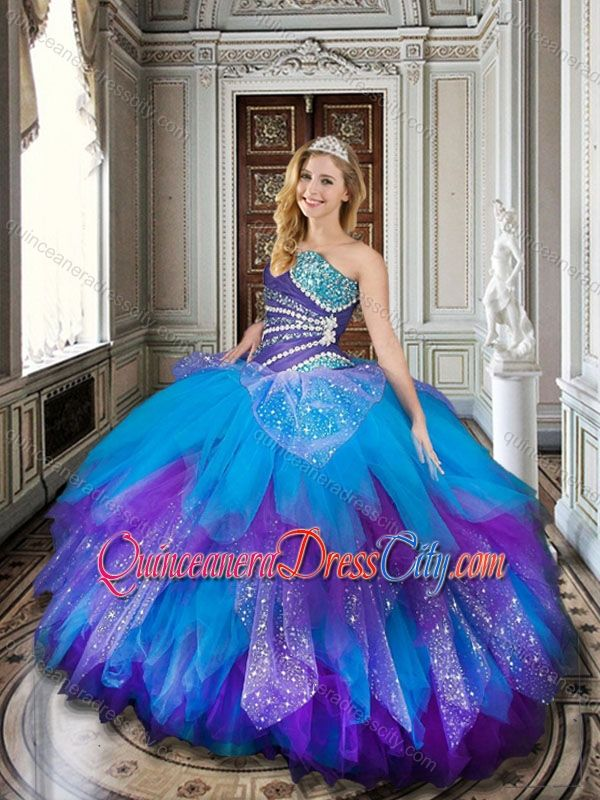 812c6dd7e50 2016 Baby Blue and Purple Simple Quinceanera Dresses with Beading and  Ruffles -  228.59