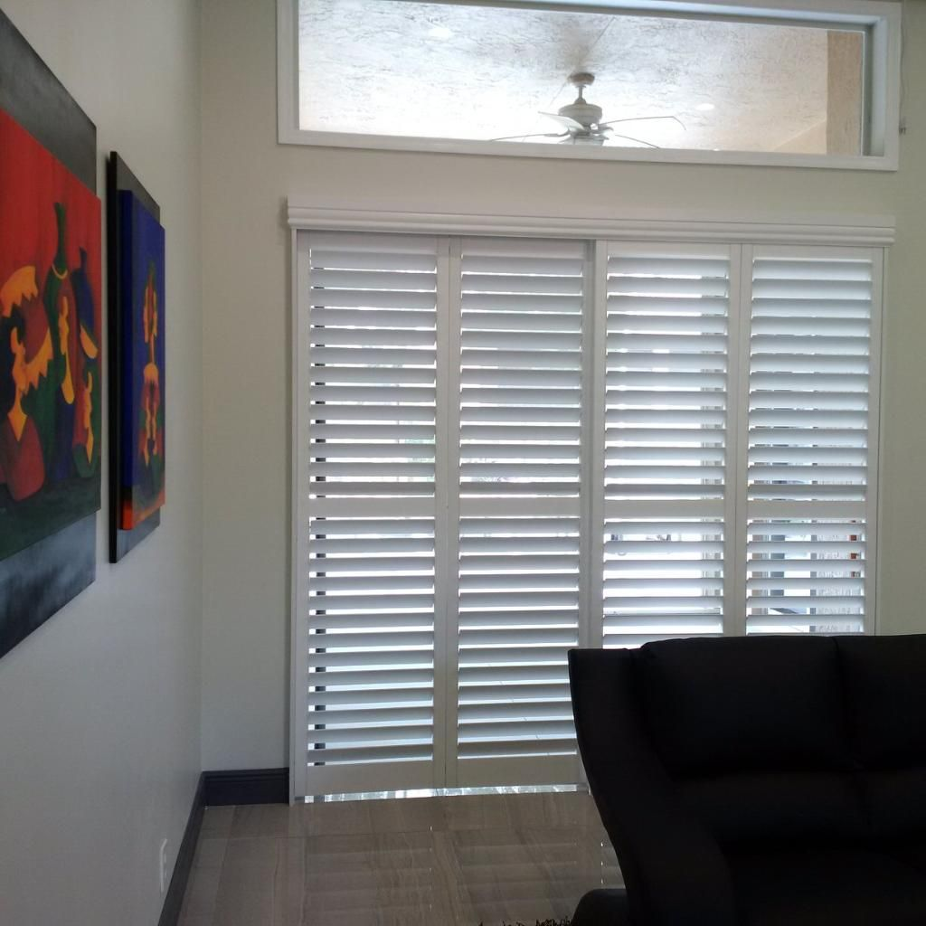 Contemporary Home With Bypass Plantation Shutters On The Sliding