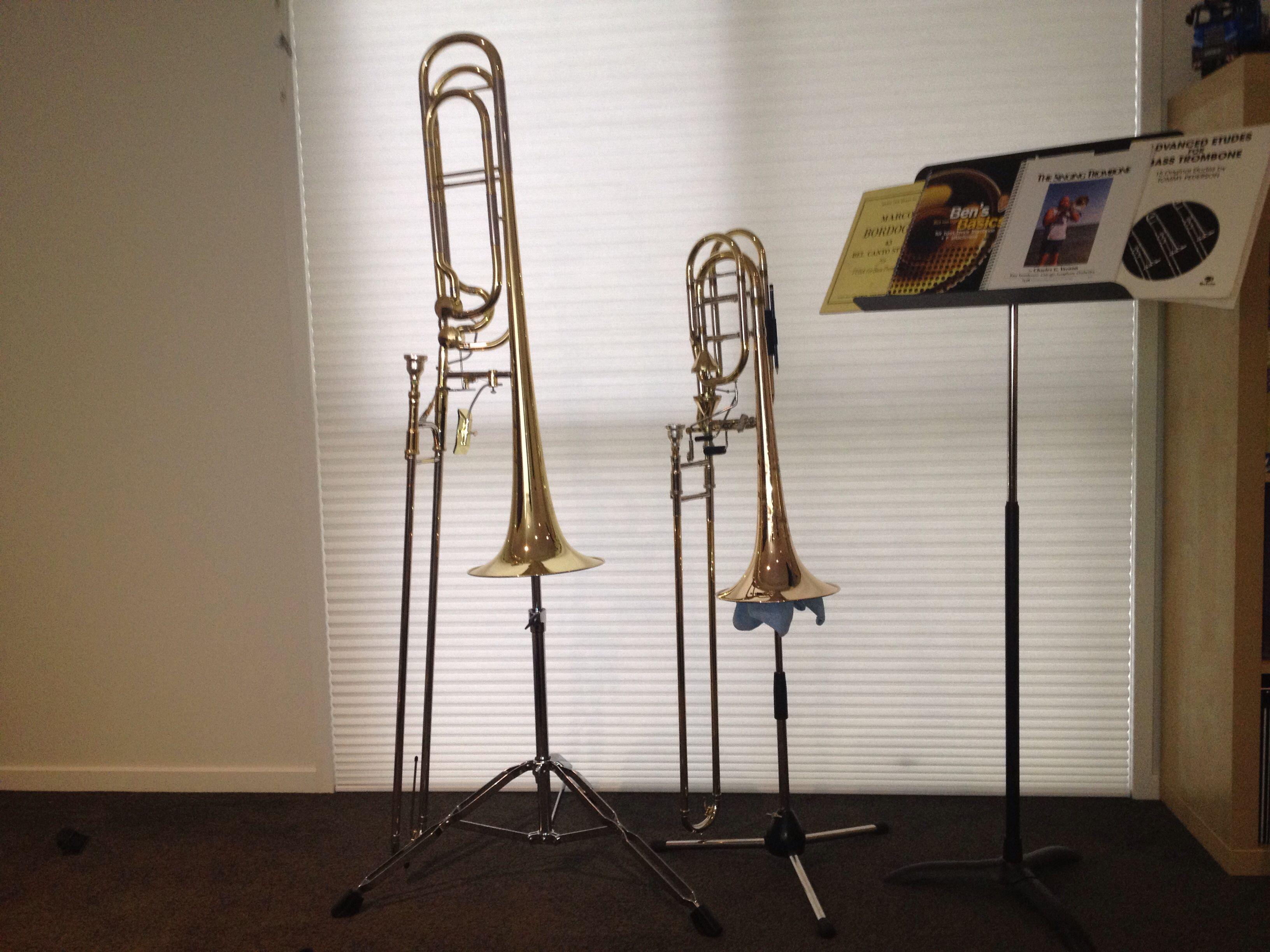 SE Shires bass trombone with Kanstul Contra Bass Trombone