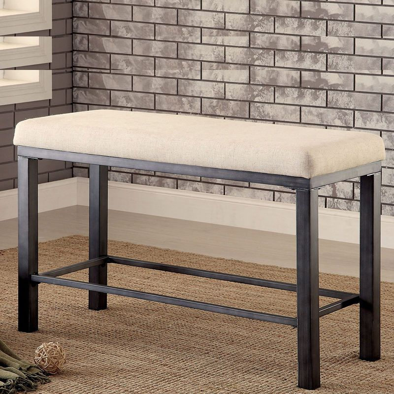 Beau Contemporary Counter Height Bench Padded Fabric Seat Metal Frame Weathered  Oak