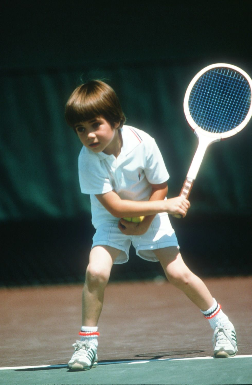 Seven Year Old Andre Agassi Plays Tennis April 1977 In Las