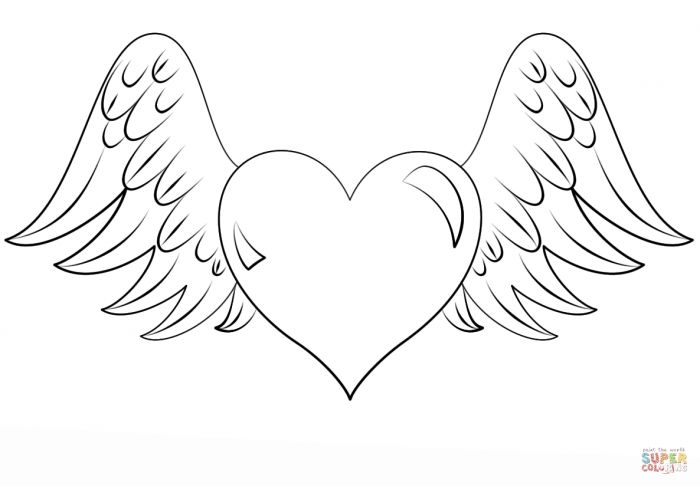 Heart With Wings Coloring Page Free Printable Coloring Pages Heart
