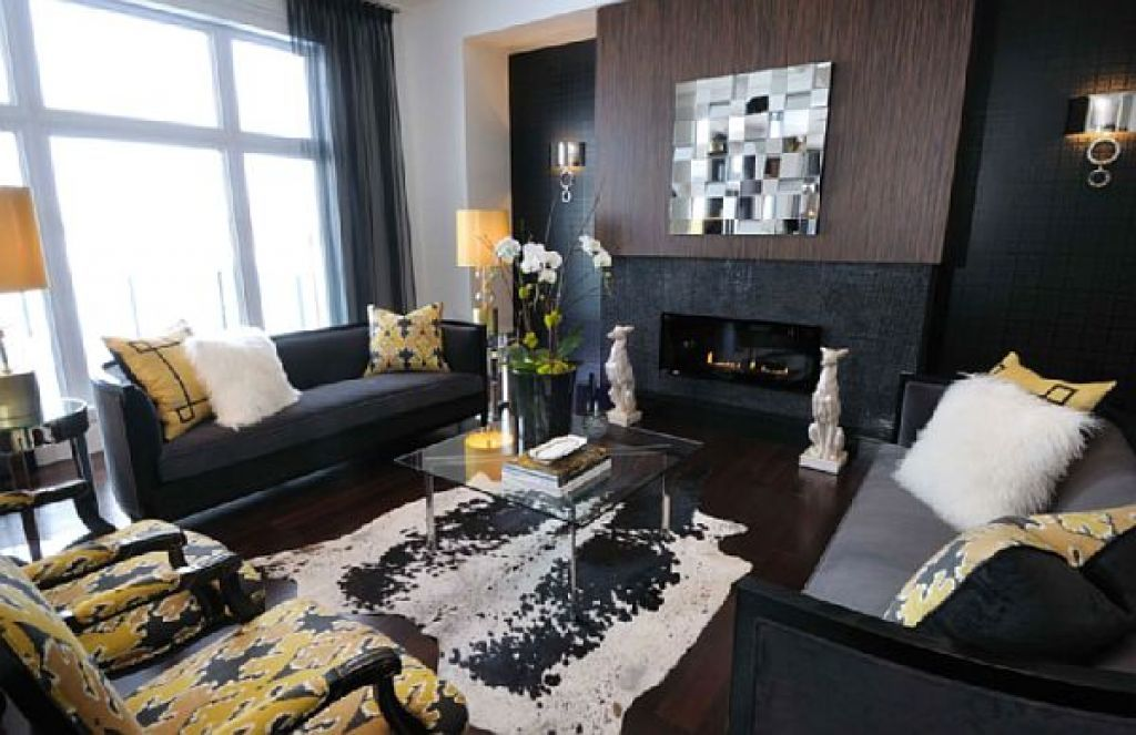 Yellow Chairs Plan Applied In Black Color Schemed Interior Design Ideas With Sofas Set And Fireplace Interesting Appearance