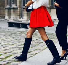 How to Wear Riding Boots with a skirt and bare legs - for spring
