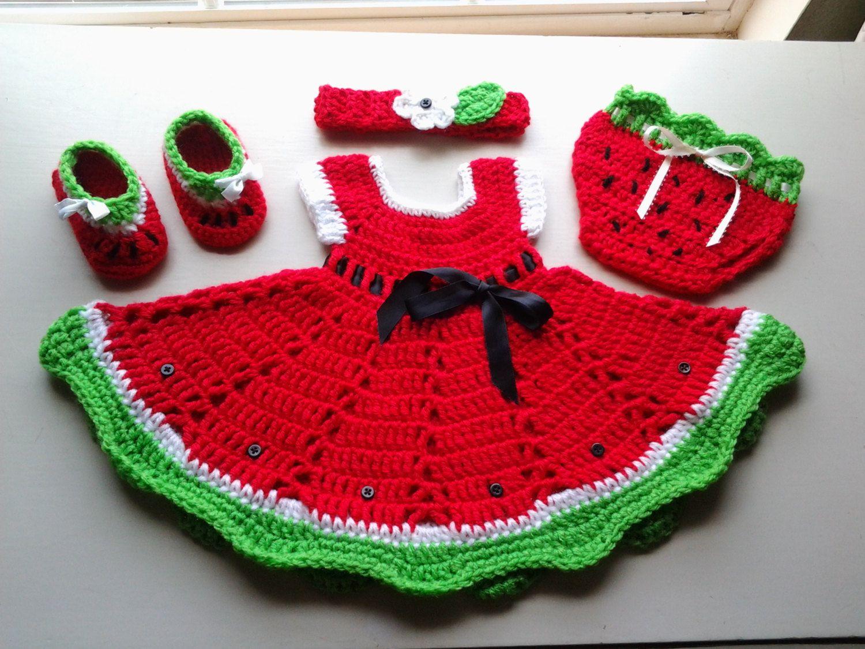 Crochet watermelon baby dress set, baby summer outfit, dress, diaper ...