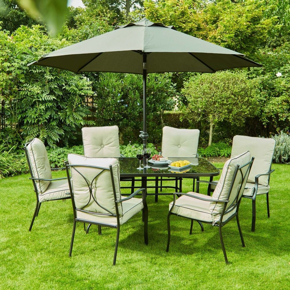 6 Seater Outdoor Dining Set Glass Table Steel Frame Parasol Garden