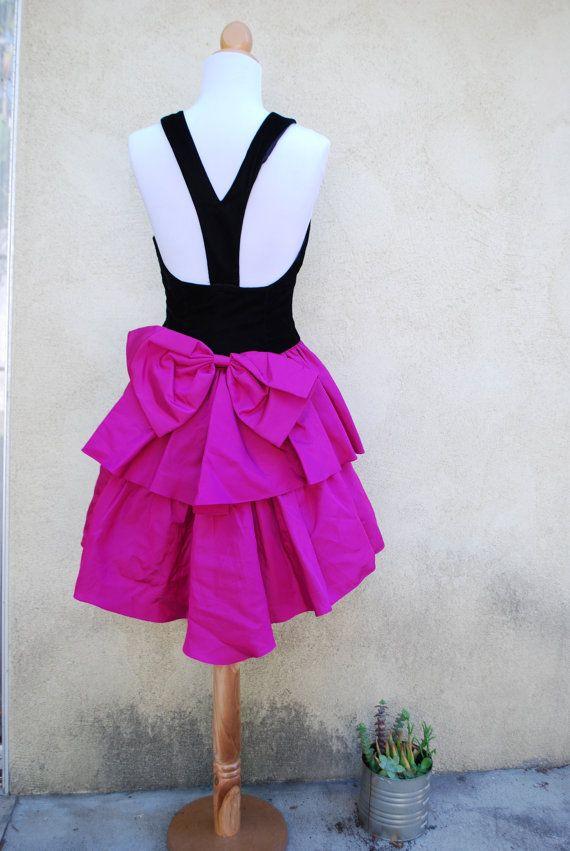 Vintage Fuchsia and Black Velvet Racerback 80s Prom Dress (size ...
