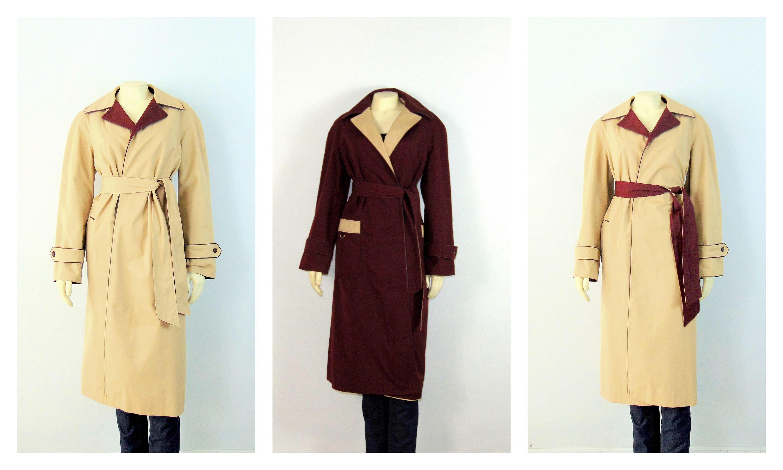 8b0282fae RARE Detailed Style 70s Reversible Trench Coat Designer Etienne ...