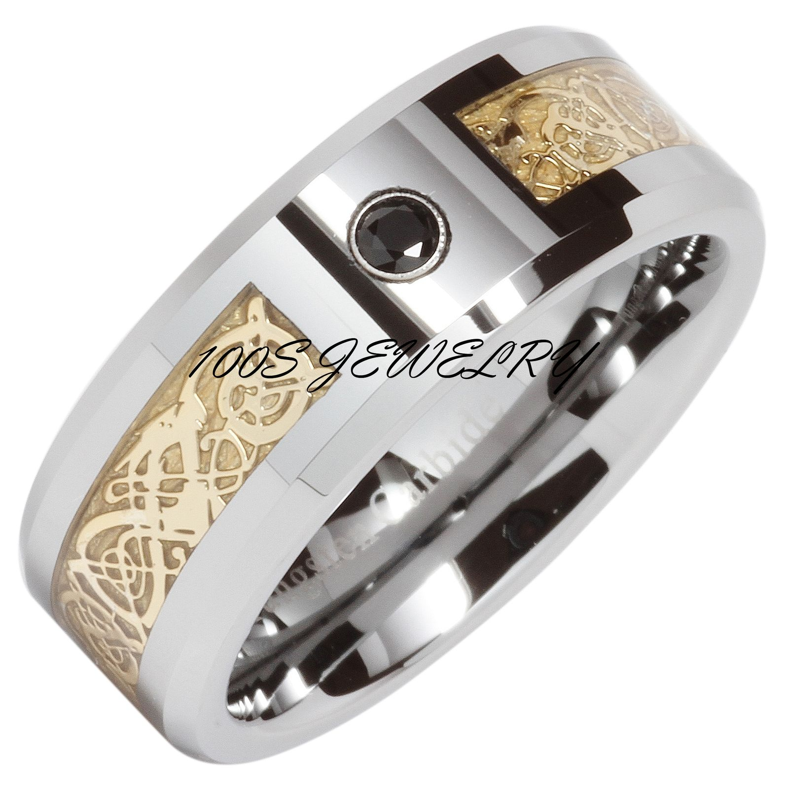 8mm Mens Tungsten Wedding Band Ring Gold Celtic Dragon Black CZ