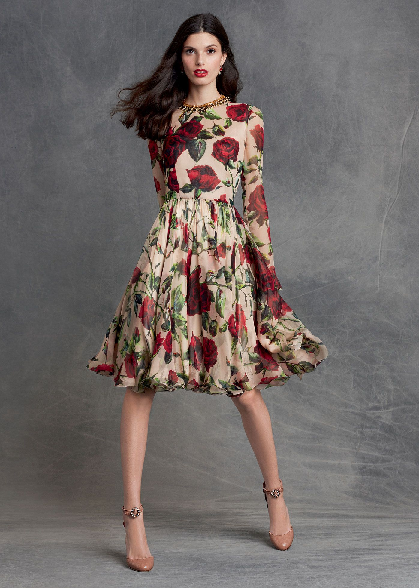 Apricot Color Long Sleeve Dress with Rose Print : Dolce and Gabbana Winter  Collectiom ~