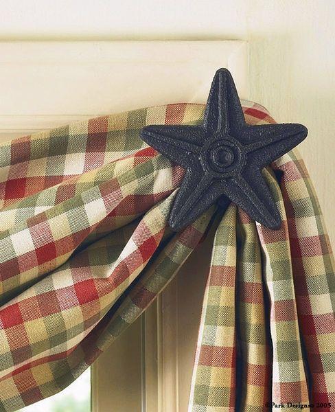Primitive Home Decor Primitive Curtain Hooks Black Star