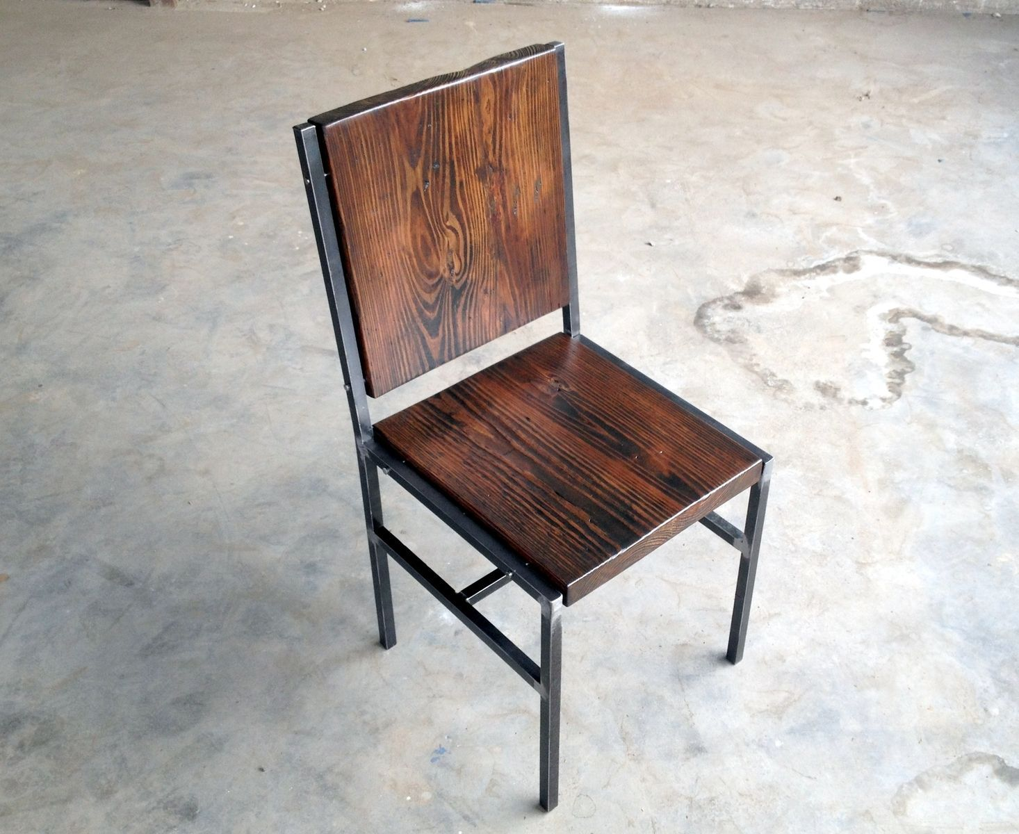 Future chairs for tasting room custom made chair stool made of reclaimed wood and steel with iron pins