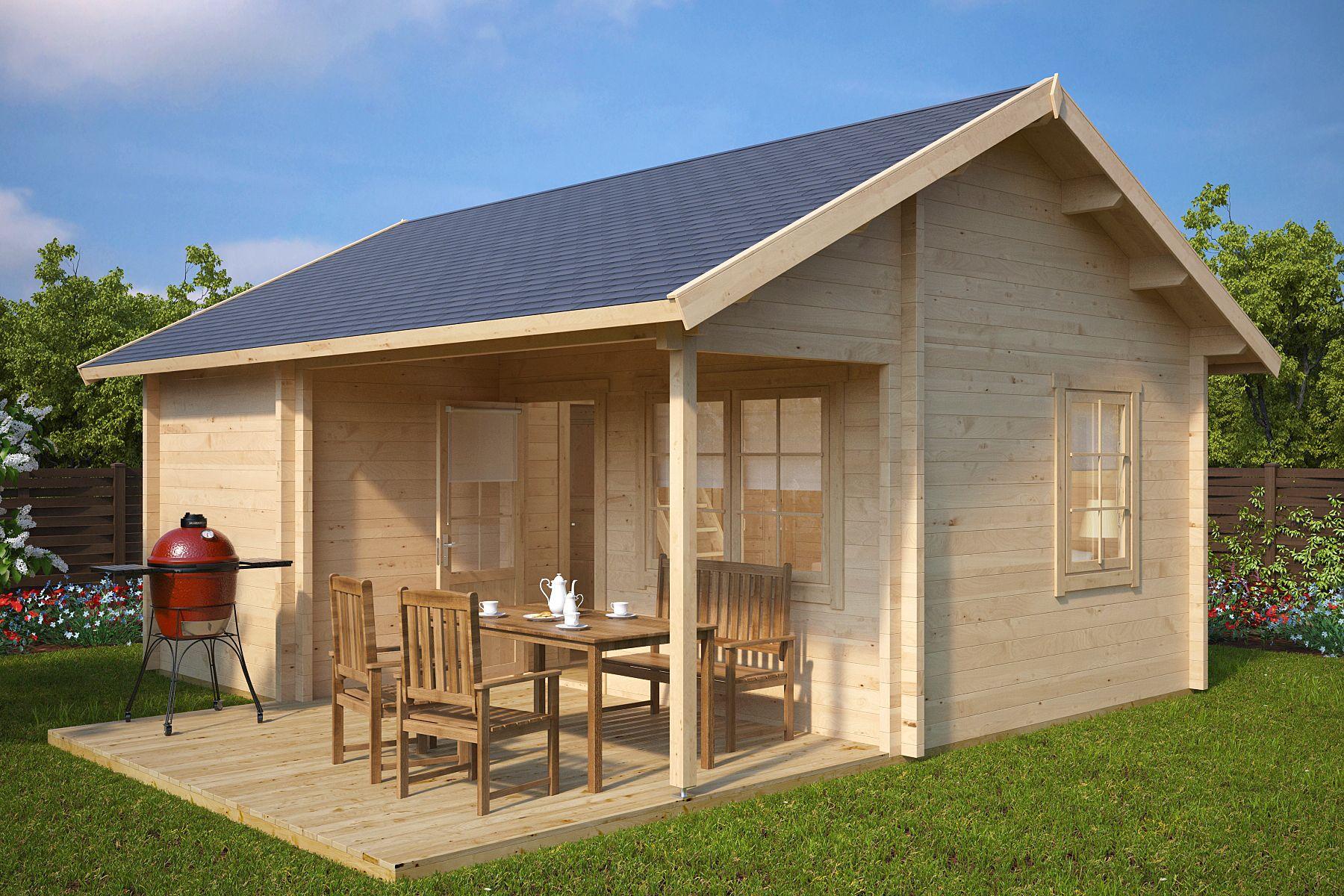Großes Gartenhaus mit Terrasse Oklahoma 26,4m² / 70mm