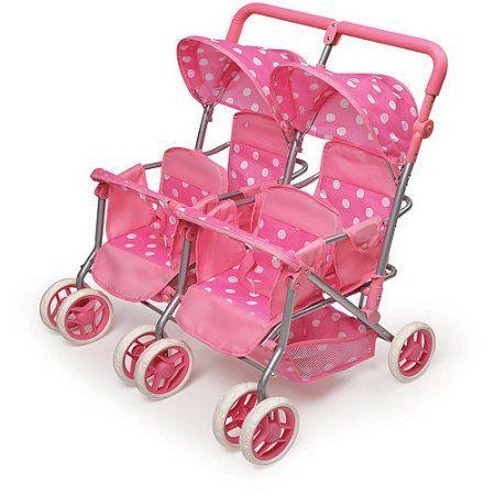 Badger Basket Quad Deluxe Doll Stroller Pink Polka Dots Walmart