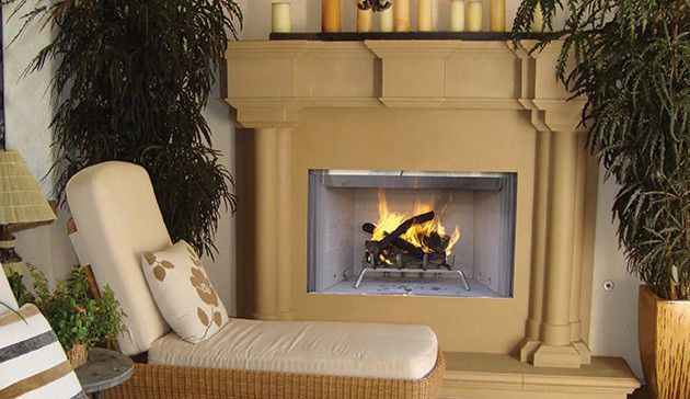 Astria Tuscan White Stacked Refractory Panels Wood Burning