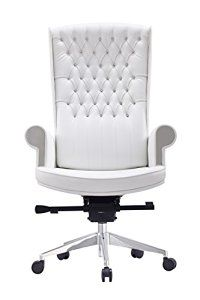 Whiteline Modern Living Imports Napoleon High Back Executive Office Chair White Tufted Office C High Back Office Chair Executive Office Chairs Work Space Chair