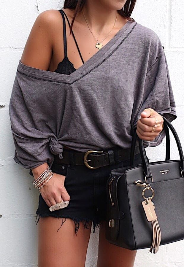 #summer #outfits oversized gray top #collegeoutfits