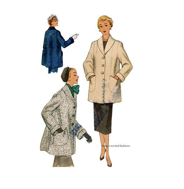 1950s WOMENS COAT PATTERN Swing Coat patterns Shawl Collar Jacket ...
