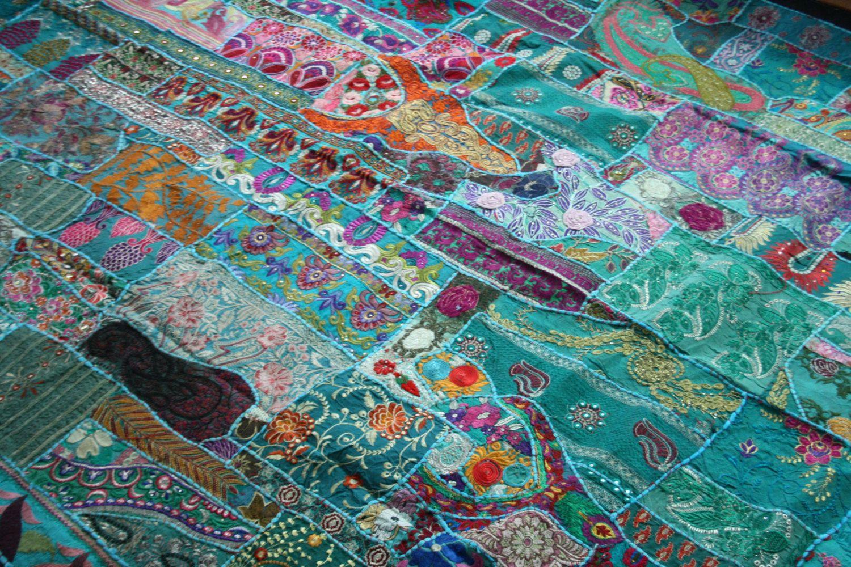 Indien Patchwork Tagesdecke Bettuberwurf Vintage Sari Bunt
