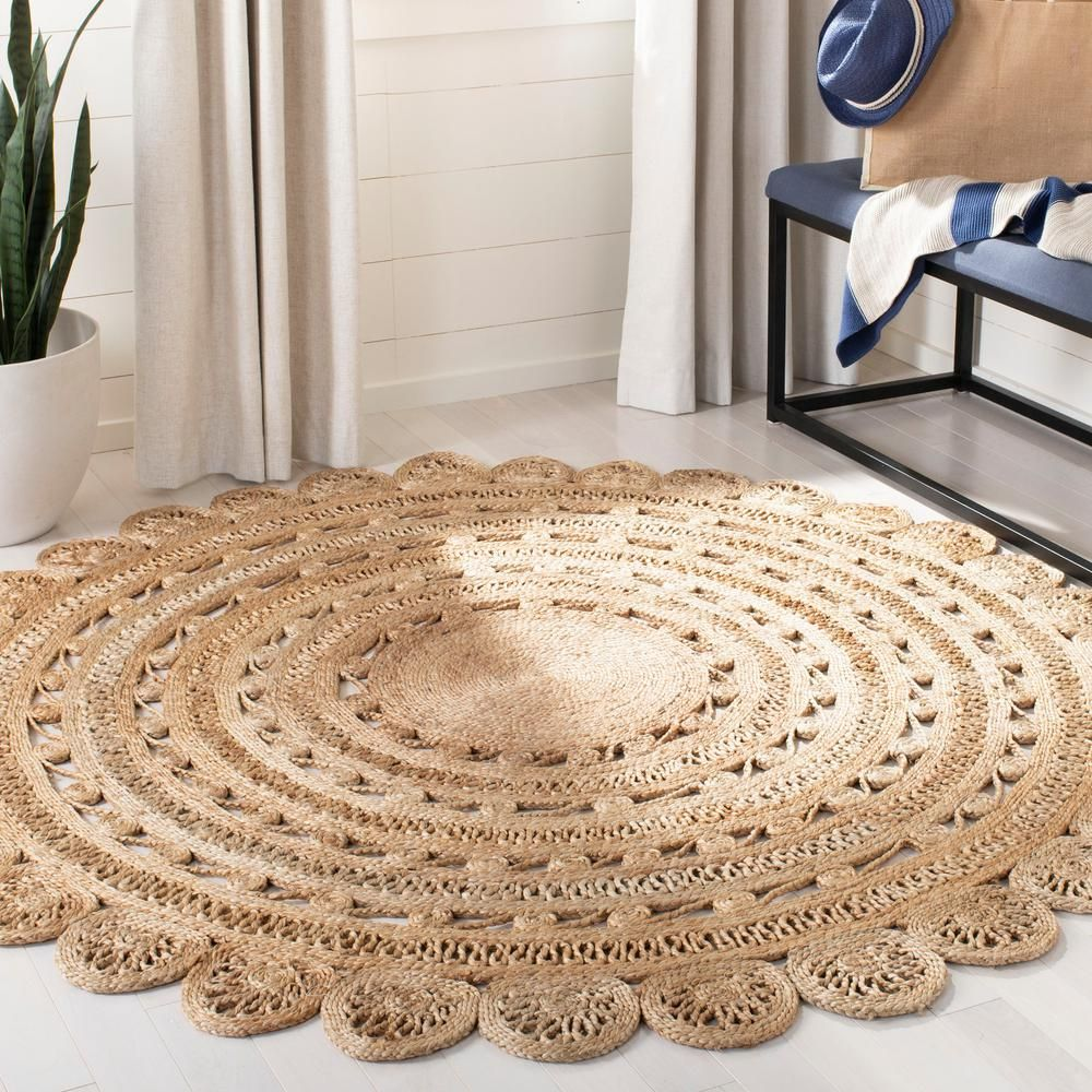Safavieh Natural Fiber Beige 3 Ft X 3 Ft Round Indoor Area Rug Nf805b 3r Jute Rug Natural Fiber Rugs Natural Area Rugs