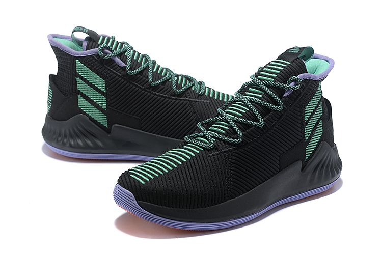 online store 90952 4cb7f adidas D Rose 9 Black Green Mens Basketball Shoes
