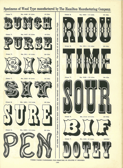 wood type - Hamilton Manufacturing Company