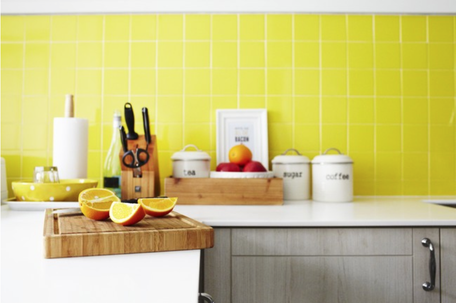 Kitchen Backsplash Singapore yellow kitchen backsplash | retro country singapore hdb flat