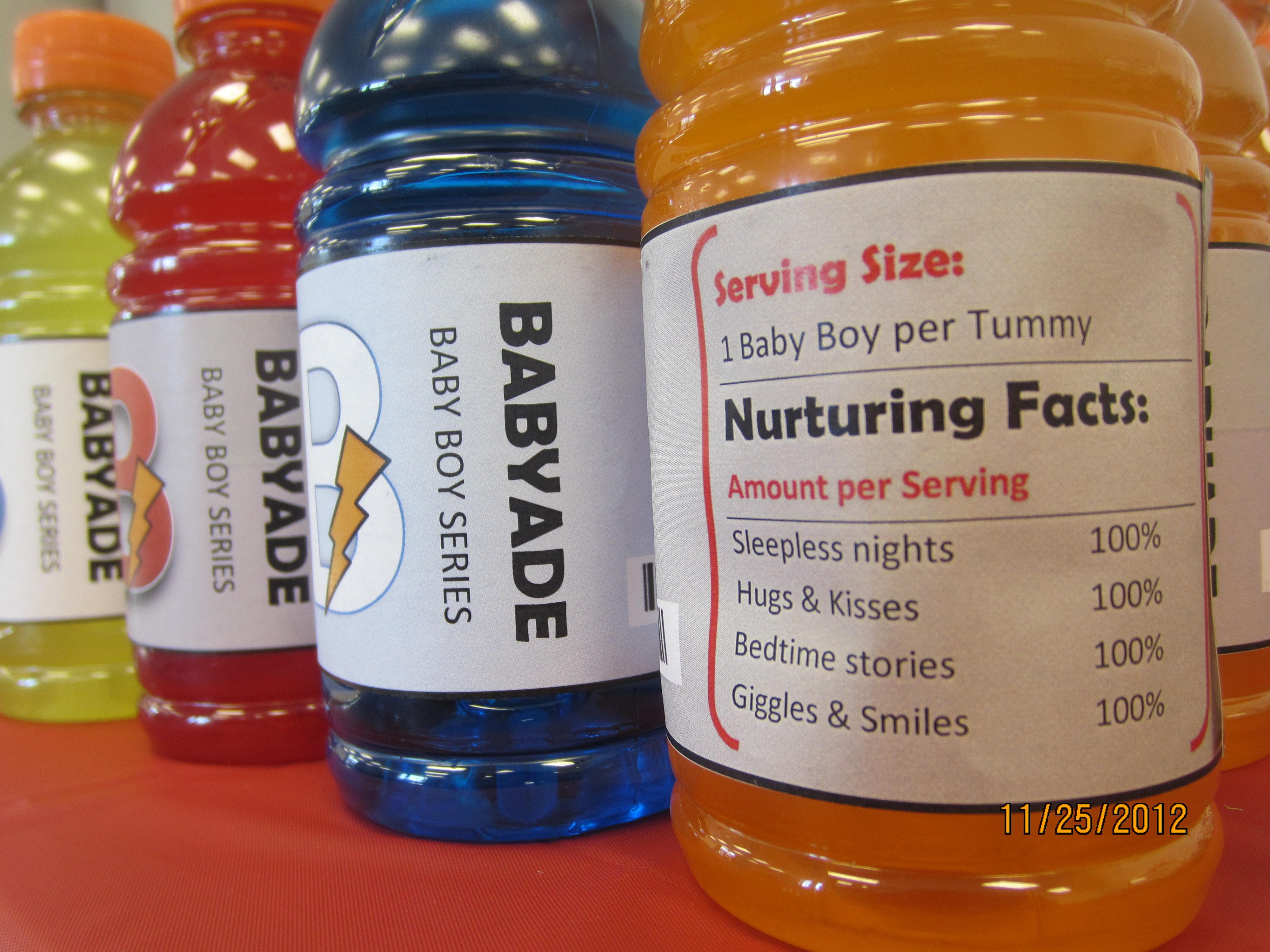 """Gatorade a k a """"Babyade"""" bottle labels for sports themed baby"""