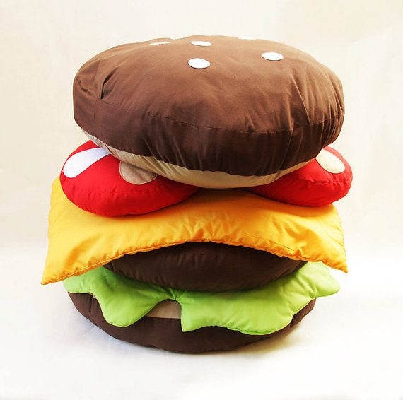 Giant Hamburger Scatter Cushion Sewing Pattern By Gemmapatford
