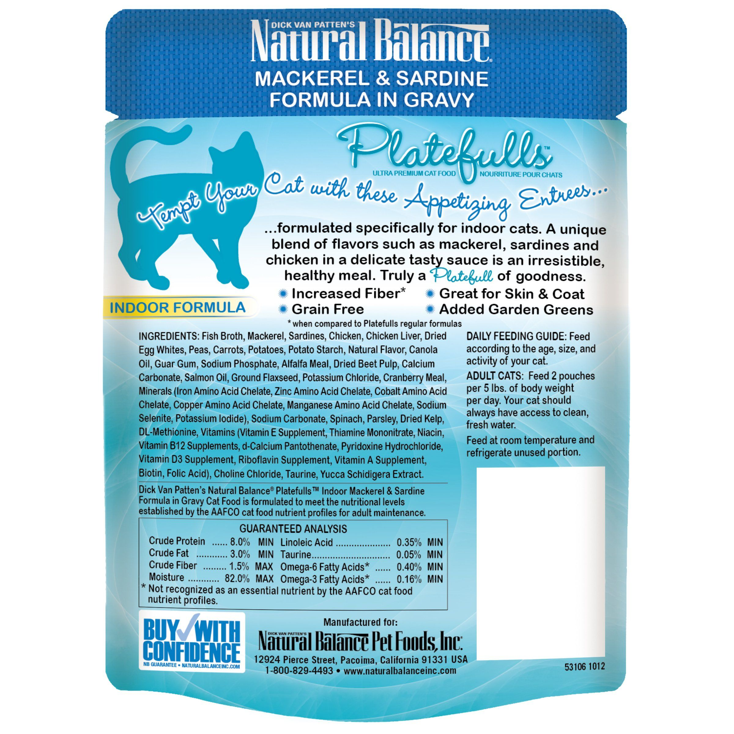 Natural balance platefulls grain free indoor cat food