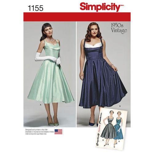 Simplicity Sewing Pattern 1155 size 20W-28W 1950s Vintage Dress ...