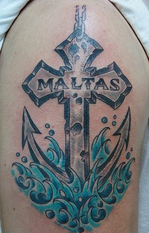 Lou S Tattoos Clearwater Florida Anchor Cross Water Tattoo Ink