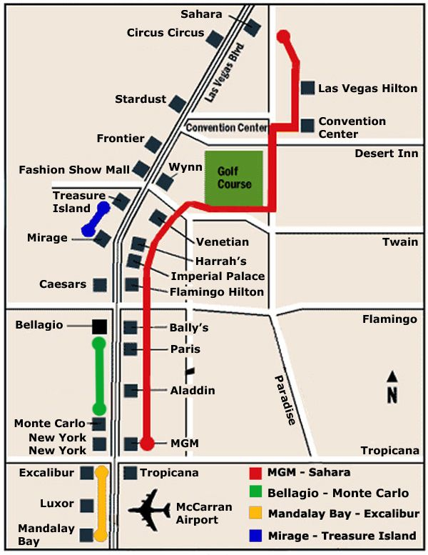 Las Vegas Map shows 4 monorail systems serving the casinos Las