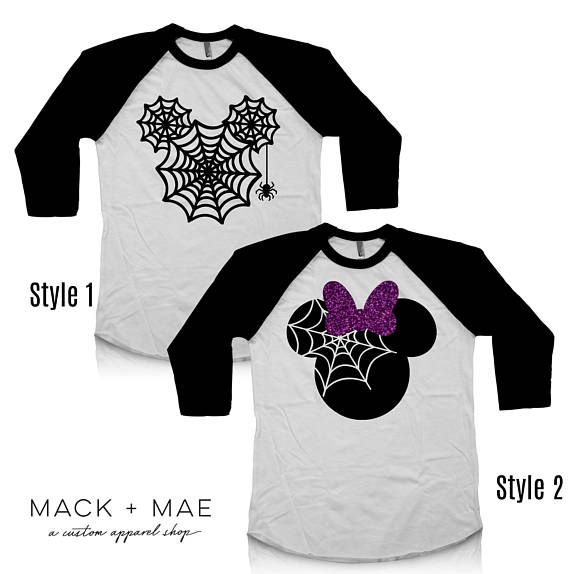 halloween disney shirts mickey or minnie castle raglan tees