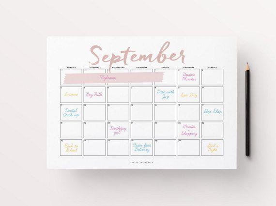 2017 Wall Calendar, Printable Calendar, 2017 Calendar, 2017 ...