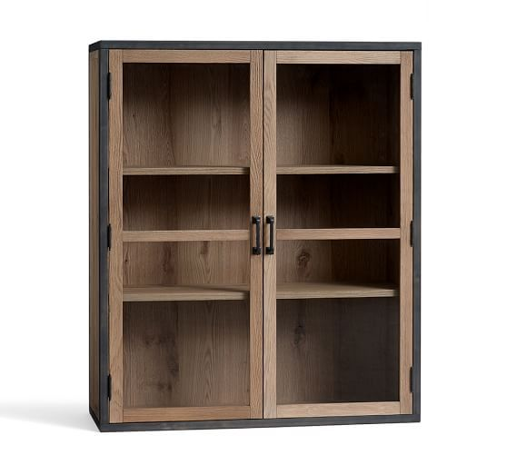 Lincoln Double Glass Door Hutch | Pottery Barn