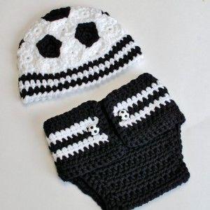 Newborn Soccer Hat and Diaper Cover #dollunderware