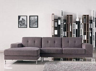 Grey Fabric Modern L Shape Sectional Sofa W Metal Legs Modern Sofa Sectional Fabric Sectional Sofas Modern Fabric Sectional Sofa