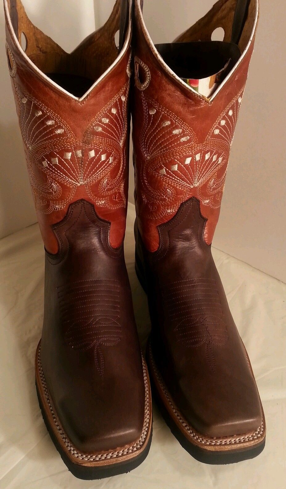 Cowboy Western Boots Genuine Cowhide Leather Square Toe Rodeo