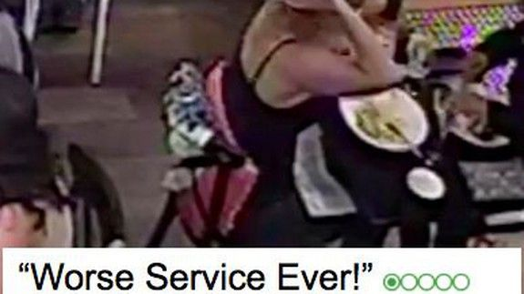 Woman filmed on CCTV putting hair in her meal before writing angry TripAdvisor review