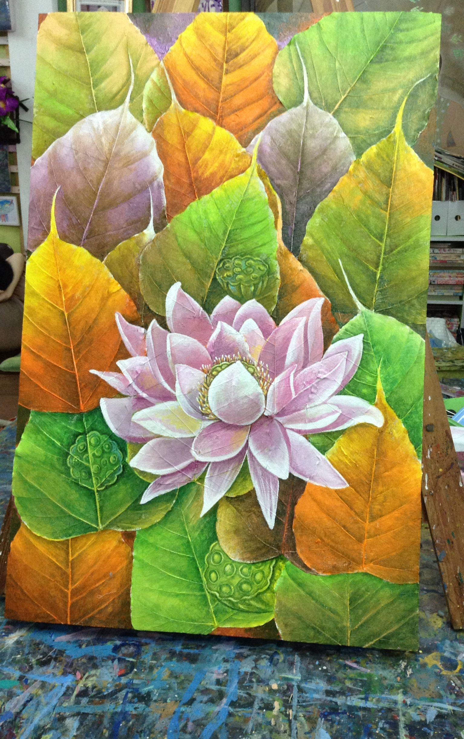 Beautiful decorative acrylic painting lotus flower made with real beautiful decorative acrylic painting lotus flower made with real preserved bodhi leaves size 40x60 cm flower izmirmasajfo